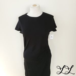 Susina Dress Black Midi Fitted Sexy Short Sleeve
